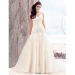 Fit & Flare Wedding Dress - Ivory Sweep/Brush Train V-neck Organza Wedding Dresses