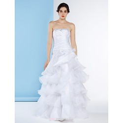 A Line Wedding Dress White Floor Length Strapless Organza Taffeta