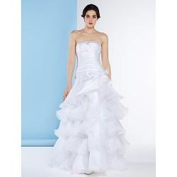 A-line Wedding Dress - White Floor-length Strapless Organza / Taffeta