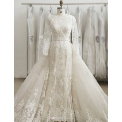 Trumpet Mermaid Wedding Dress Ivory Sweep Brush Train Bateau Lace