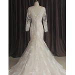 Trumpet/Mermaid Wedding Dress-Ivory Sweep/Brush Train Bateau Lace Wedding Dresses