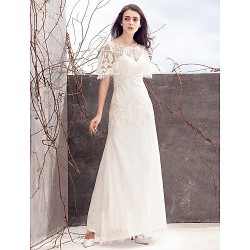 Sheath Column Wedding Dress Ivory Ankle Length Scoop Lace