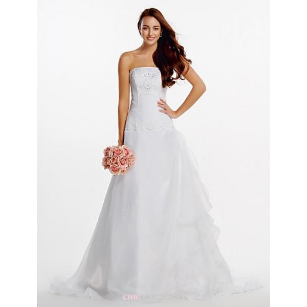 A-line Wedding Dress - Ivory Court Train Strapless Organza Wedding Dresses