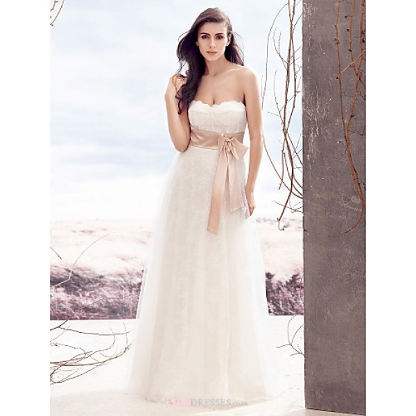 A-line Wedding Dress - Ivory Floor-length Strapless Lace / Tulle Wedding Dresses