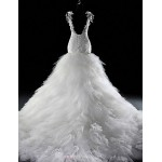 Trumpet/Mermaid Wedding Dress-White Court Train V Neck Lace Tulle Wedding Dresses