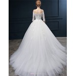 Ball Gown Wedding Dress - Ivory Court Train Off-the-shoulder Tulle Wedding Dresses
