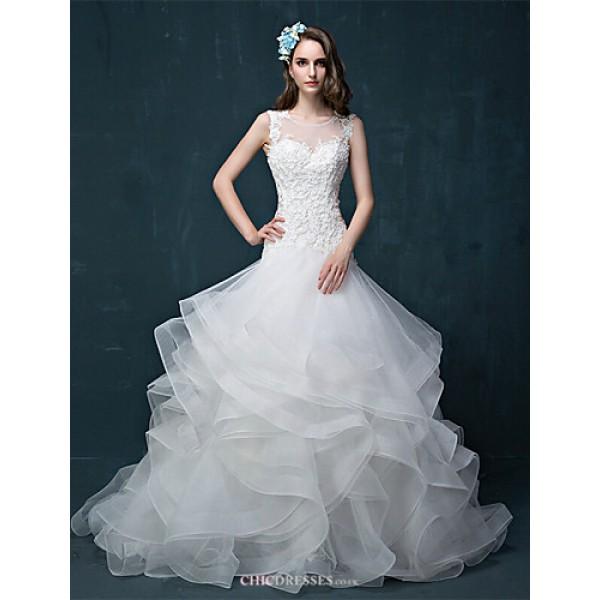 A-line Wedding Dress - Ivory Court Train Jewel Tulle Wedding Dresses