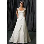 A-line Wedding Dress Chapel Train/Floor-length Queen Anne Satin Chiffon Wedding Dresses