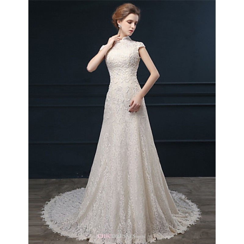 A line wedding dress champagne court train high neck for Cheap lace wedding dresses uk