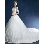 Ball Gown Wedding Dress - Ivory Chapel Train Off-the-shoulder Tulle Wedding Dresses