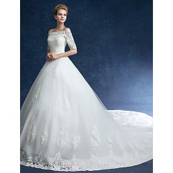 Ball Gown Wedding Dress Ivory Chapel Train Off The Shoulder Tulle