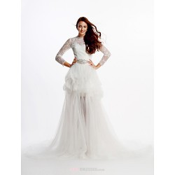 A Line Wedding Dress Ivory Cathedral Train Jewel Lace Tulle