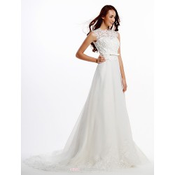 A Line Wedding Dress Ivory Court Train Jewel Lace Organza