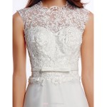 A-line Wedding Dress - Ivory Court Train Jewel Lace / Organza Wedding Dresses