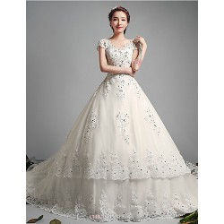 Ball Gown Wedding Dress Ivory Chapel Train V Neck Tulle