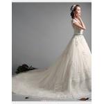 Ball Gown Wedding Dress - Ivory Chapel Train V-neck Tulle Wedding Dresses