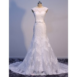 Trumpet Mermaid Sweep Train Wedding Dress Bateau Satin Tulle