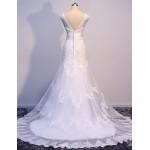 Trumpet/Mermaid Sweep Train Wedding Dress Bateau Satin Tulle Wedding Dresses