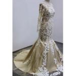 Trumpet/Mermaid Wedding Dress - Champagne Sweep/Brush Train Scoop Tulle Wedding Dresses