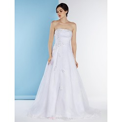 A Line Wedding Dress White Sweep Brush Train Strapless Organza