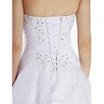 A-line Wedding Dress - White Sweep/Brush Train Strapless Organza Wedding Dresses