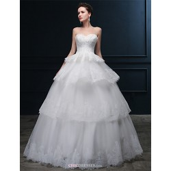 Ball Gown Wedding Dress - Ivory Floor-length Sweetheart Tulle