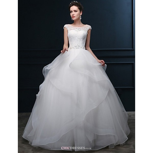 Ball Gown Wedding Dress - Ivory Floor-length Scoop Tulle Wedding Dresses