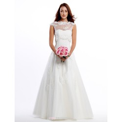 A Line Wedding Dress Ivory Floor Length Jewel Lace Tulle