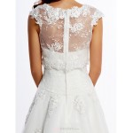 A-line Wedding Dress - Ivory Floor-length Jewel Lace / Tulle Wedding Dresses