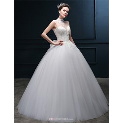 Ball Gown Wedding Dress Ivory Floor Length High Neck Tulle