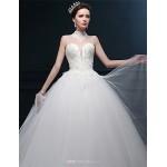 Ball Gown Wedding Dress - Ivory Floor-length High Neck Tulle Wedding Dresses