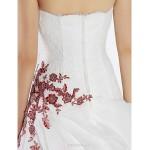 A Line Wedding Dress Ivory Sweep Brush Train Sweetheart Chiffon Lace