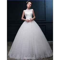 Ball Gown Wedding Dress - Ivory Floor-length High Neck Tulle
