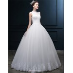 Ball Gown Wedding Dress - Ivory Floor-length High Neck Tulle Wedding Dresses