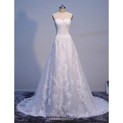 A-line/Princess Wedding Dress-White Sweep/Brush Train Sweetheart Tulle