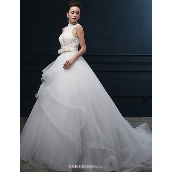 Ball Gown Wedding Dress - Ivory Court Train High Neck Tulle Wedding Dresses