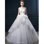 Ball Gown Wedding Dress - Ivory Court Train Scoop Lace / Tulle Wedding Dresses