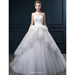 Ball Gown Wedding Dress - Ivory Court Train Scoop Lace / Tulle
