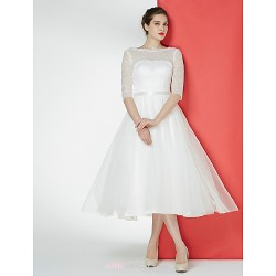 - A-line Wedding Dress - Ivory Tea-length Bateau Lace / Tulle