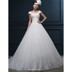 A Line Wedding Dress Ivory Court Train Sweetheart Tulle
