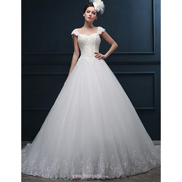 A-line Wedding Dress - Ivory Court Train Sweetheart Tulle Wedding Dresses
