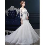 Trumpet/Mermaid Wedding Dress - Ivory Sweep/Brush Train Bateau Lace Wedding Dresses