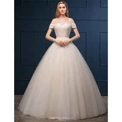 Ball Gown Wedding Dress - Champagne Floor-length Off-the-shoulder Tulle