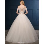 Ball Gown Wedding Dress - Champagne Floor-length Off-the-shoulder Tulle Wedding Dresses