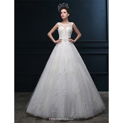 A Line Wedding Dress Ivory Floor Length Scoop Tulle