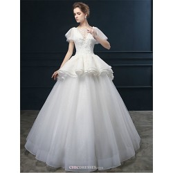 Ball Gown Wedding Dress Ivory Floor Length Scoop Lace Tulle