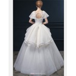 Ball Gown Wedding Dress - Ivory Floor-length Scoop Lace / Tulle Wedding Dresses