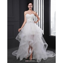 A-line Wedding Dress - White Asymmetrical Sweetheart Organza