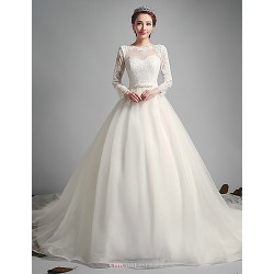 A-line Wedding Dress - Ivory Court Train Jewel Tulle
