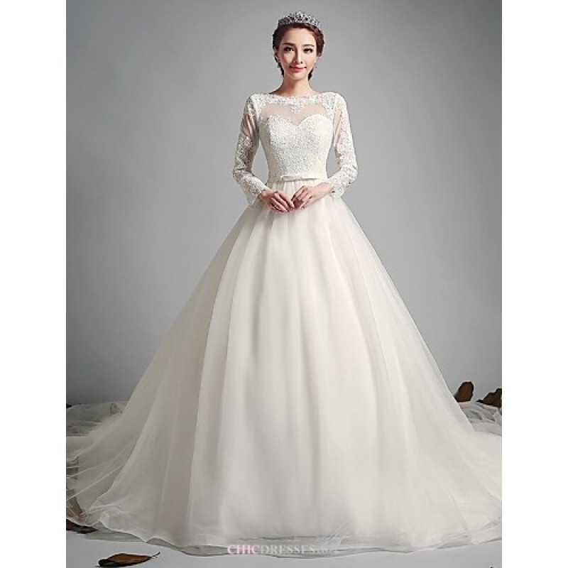 A Line Wedding Dress.A Line Wedding Dress Ivory Court Train Jewel Tulle